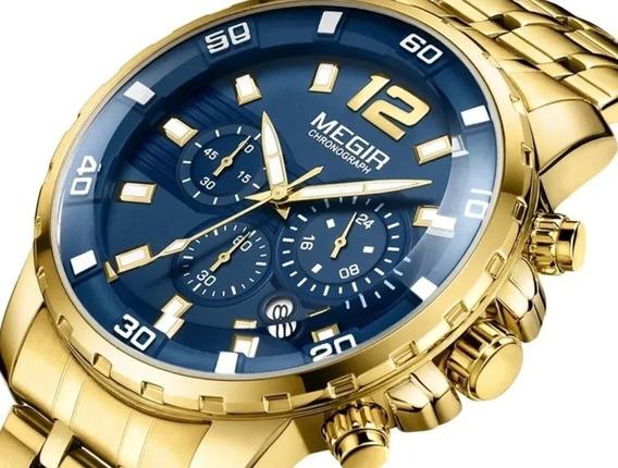 Relógio Masculino Megir Dourado Original Todo Funcional