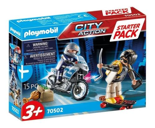 Imagen 1 de 7 de Playmobil Policia Persecucion Ladron Moto Starter Pack 70502