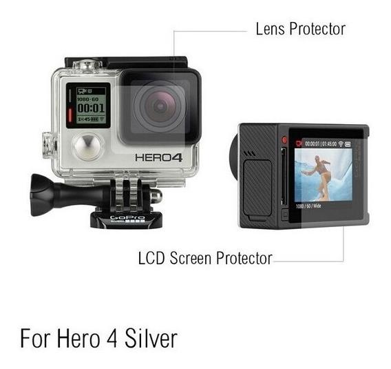 Pelicula De Plastico Lente E Tela De Lcd Gopro Hero4 Silver