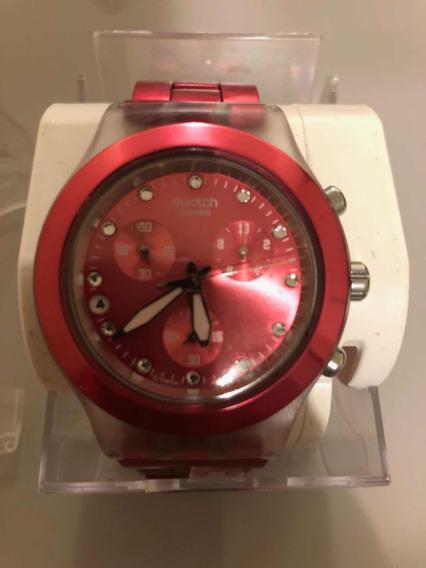 Relógio Suíço Swatch Full-blooded Cereja Original