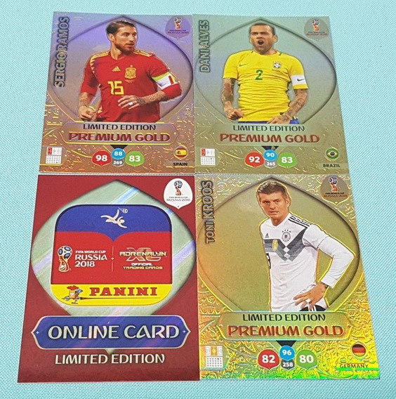 4 Cards Copa 2018 Adrenalyn Xl Limited Edition Premium Gold