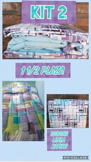 Acolchado Y Juego De Sabana1 1/2 Plaza. Kit Por 2 Unidades