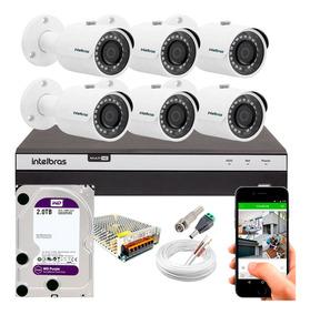 Kit Cftv 6 Câmeras Segurança Full Hd 3230b Dvr Intelbras 2tb
