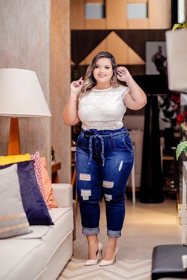 Calça Jeans Destroyed Plus Size Feminina