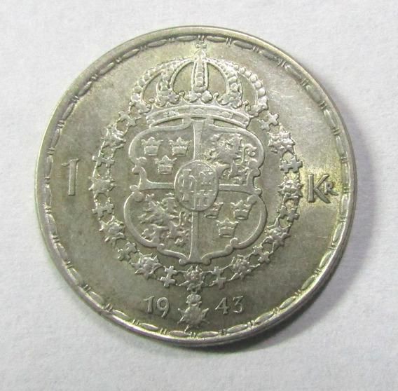 Suecia 1 Korona Plata 1943 Rostro De Gustavo V Xf Excelente