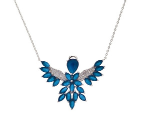Colar Espírito Santo Azul Safira Folheado Ródio Prata