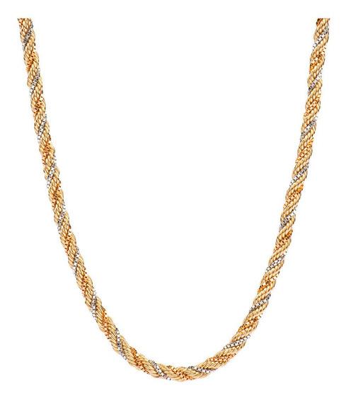 Corrente De Ouro 18k Feminina Corda Tricolor Coleção Divas