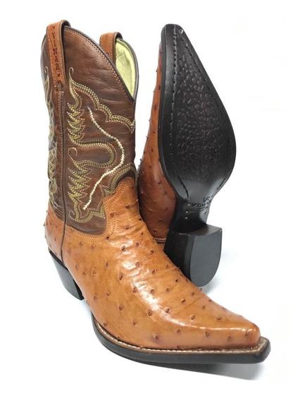 Bota Texana Country Masculina Vimar Bico Fino Couro Legitimo De Avestruz - Modelo Único E Exclusivo!