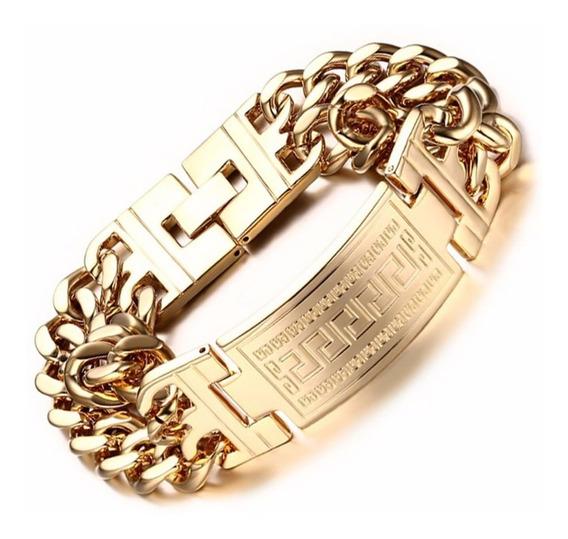 Bracelete Pulseira Masculina Grossa Banho Ouro Dourada C275