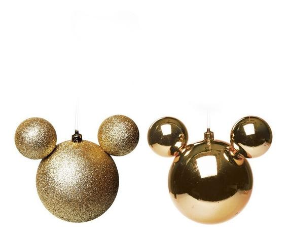 Bola P/ Árvore De Natal Disney 6cm Dourado