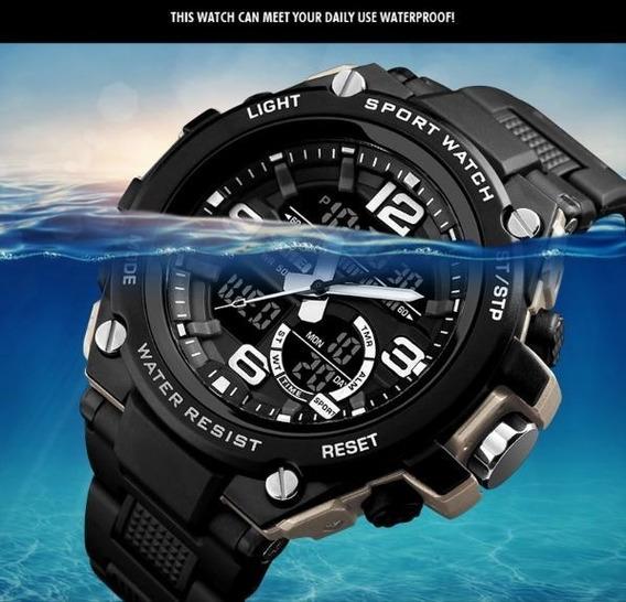 Relógio Masculino Watch Digital Analógico Á Prova De Água