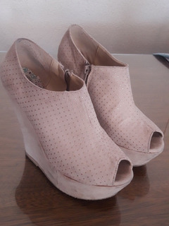 Zapatos Botinetas Plataforma Gamuza Rosa Bebe