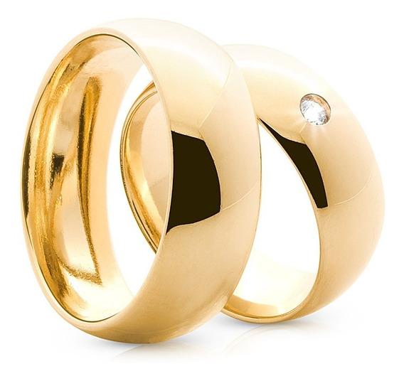 Alianças Ouro 18k 10 Gramas 6mm Diamente Casamento Noivado