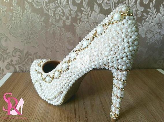 Sapato De Noiva Perolas E Strass Marfim