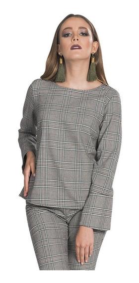 Blusas Dama Casuales Moda Mujer Cuadros Linea Verde N83148