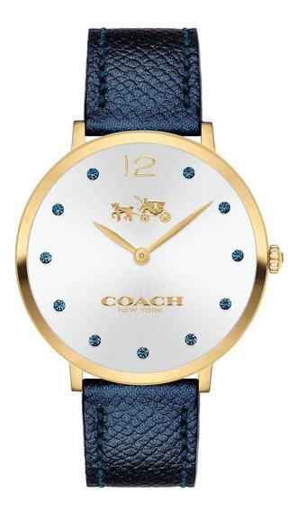 Reloj Coach Slim Easton Blue Leather Strap Watch 35mm