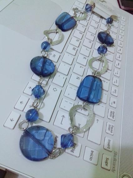 Hermoso Collar Basico Hannah Plateado/azul