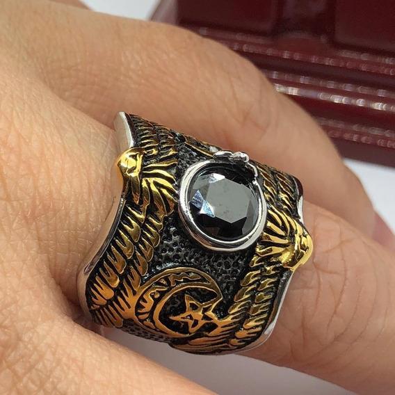Anel Águia Asas Egito Lua Estrela Ouroboros Aço Simbolo Stlr
