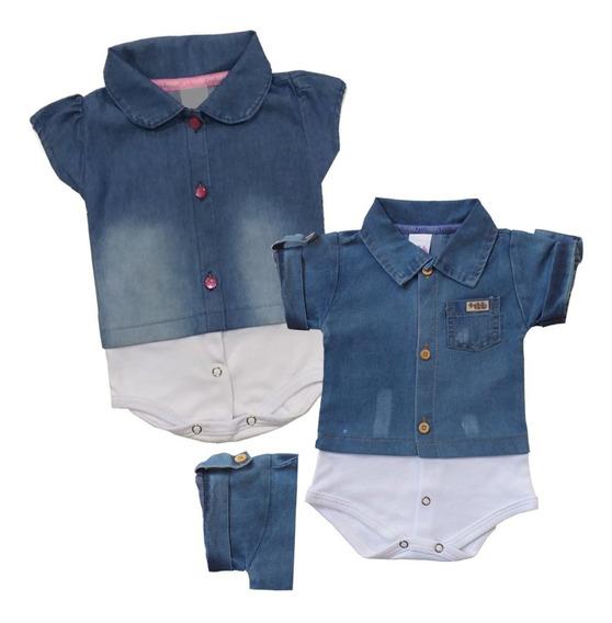 1 Body Camisa Jeans Bebê Menino/menina P,m,g Promoção Full!