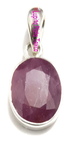 Dije Ruby Natural Montado En 100% Plata 925 Corindon Diamant