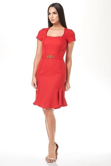 Vestido Com Recortes E Faixa Bordada Na Cintura Via Tolentin