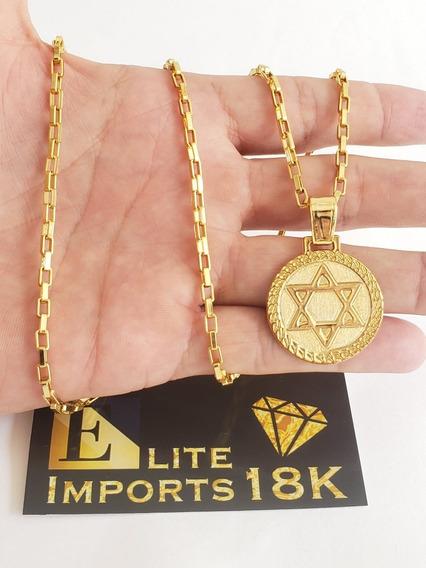 Cordão 3mm Tijolinho + Pingente Banhado A Ouro 18k Luxo