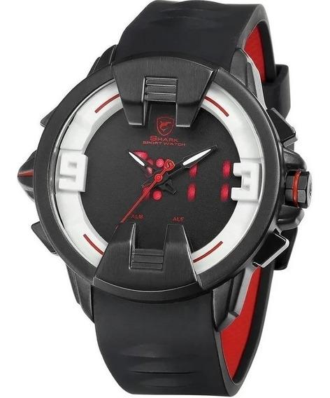 Relógio Masculino Shark Anadigi Sh-559 - Preto E Branco