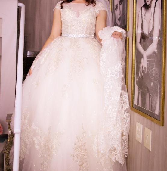 Vestido De Princesa Noiva Brilho Com Veu Bordado