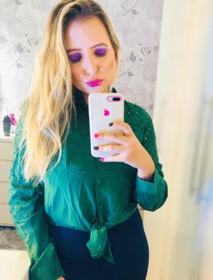 Camisa Feminina Verde Detalhe Lese E Laço M