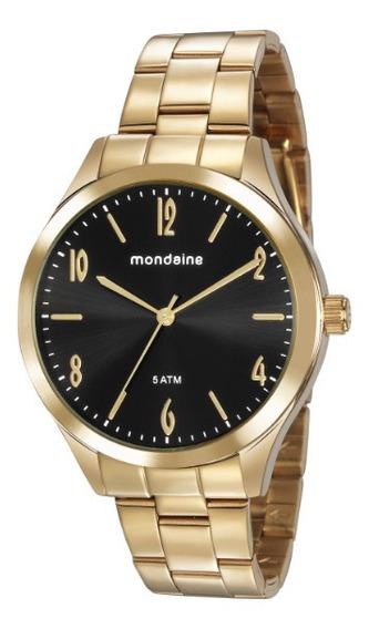 Relógio Preto Com Dourado Mondaine