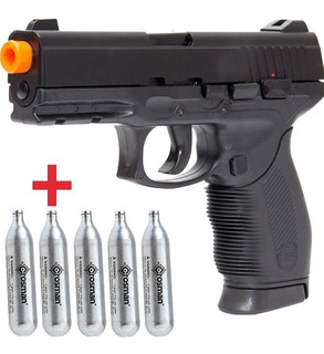 Pistola Co2 Airsoft 24/7 Kwc Slide Metal + 5 Cilindros Co2
