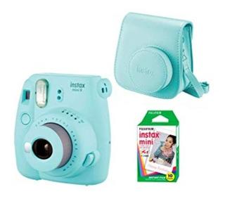 Cámara Instax Mini 9 Azul Hielo Con 10 Fotos Y Estuche.