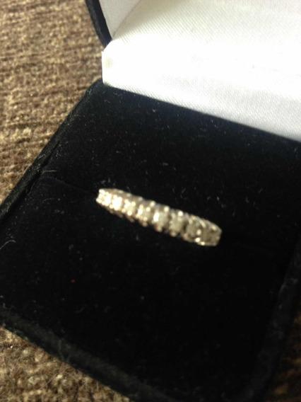 Meia Aliança Ouro E 13 Diamantes