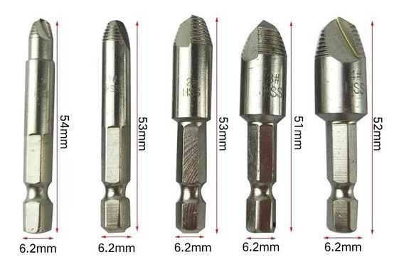 Broca Extractor Tornillo Acero Alta Velocidad Paquete 5pza