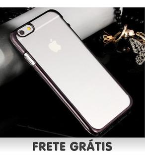 Capa Luxo iPhone 6 Plus Borda Metálica C/fundo Transparente