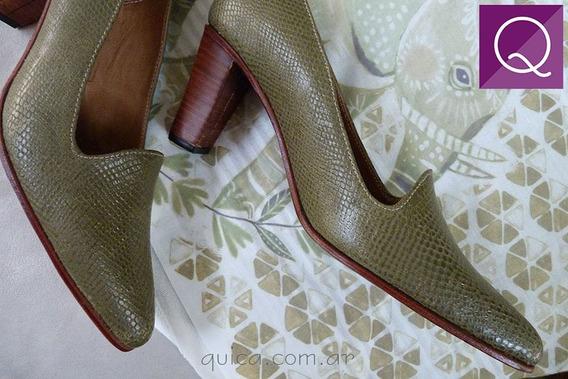 Increíble Zapatos De Mujer Cuero Verde Seco Quica Magdalena