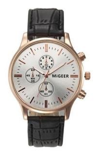 Reloj Hombre- Acero Inoxidable-malla Cuero- Migeer- Oferta