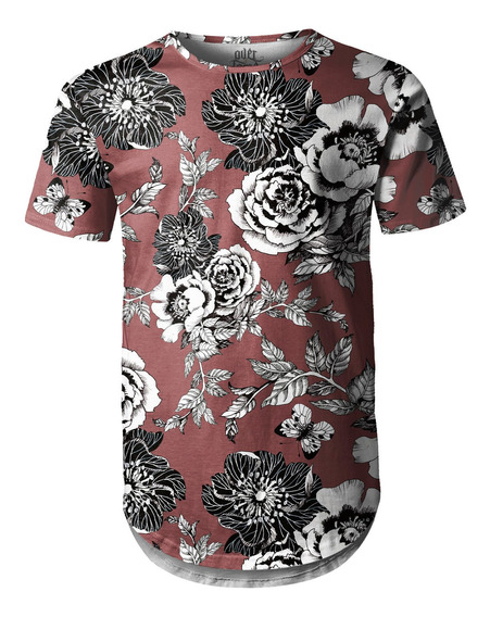 Camiseta Masculina Longline Swag Flor Da Ameixeira