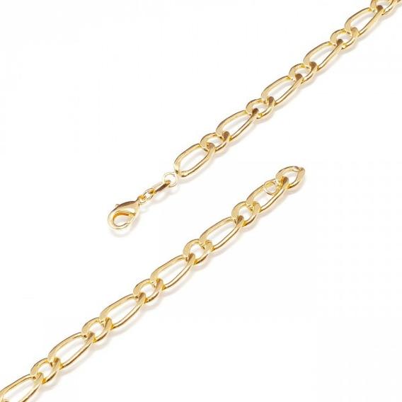 Corrente Masculina Dourada Grossa 60cm Banhada A Ouro