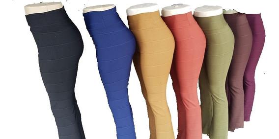 Calça Flare Bandagem Feminina Cós-alto Tecido Grosso Tendência Boca De Sino Promoção Varias Cores
