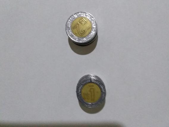 Monedas De 2 Y Un Nuevos Pesos
