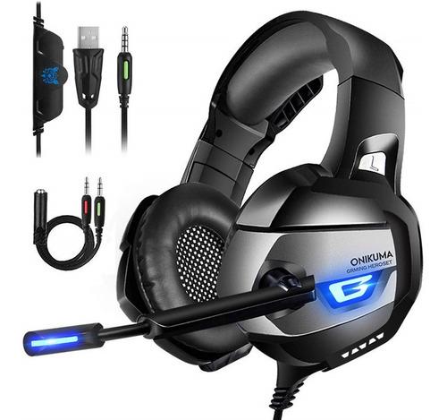 Imagem 1 de 8 de Fone Ouvido Headset Gamer K5 Blue Led Onikuma Usb P2 P3 Ps4