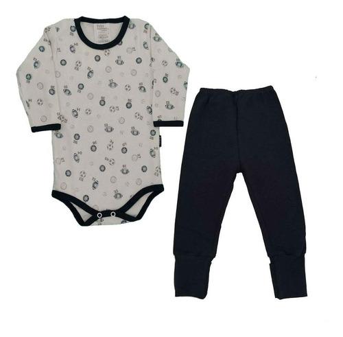 Imagem 1 de 1 de Conjunto Body E Calça Bebê Esportivos - Baby Fashion - Azul