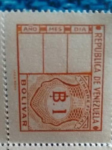 Imagen 1 de 3 de Estampilla Timbre Fiscal 1 Bolivar Colección