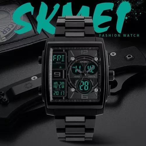 Relógio Skimei Ana/dig Caixa Quadrada Luxo