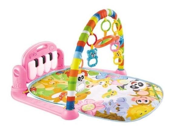 Tapete Ginásio Piano Pontapé Musical Luz Atividade Bebê Rosa