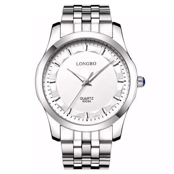 Relógio Masculino Longbo Prata Social Clássico Luxo