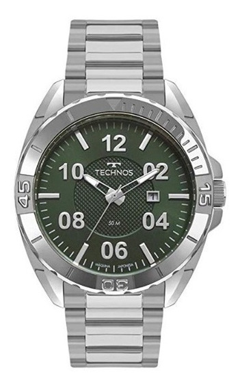Relógio Technos Masculino Casual Militar Prata 2117lbi/k1v