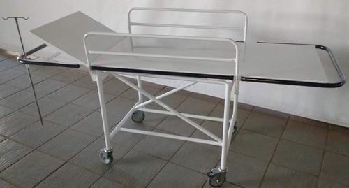 Carro Maca Padiola Hospitalar C/ Suporte Soro E Parachoque