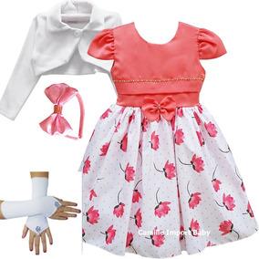 Vestido Festa Infantil Floral Princesa Bolero Tiara Luvas
